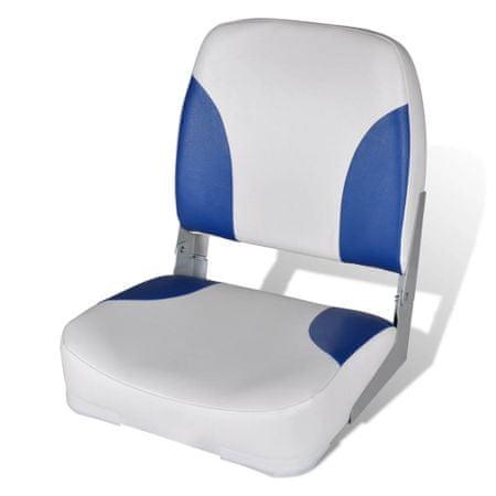 shumee Składany fotel na łódź, biało-niebieski z poduszką, 56x43x48 cm