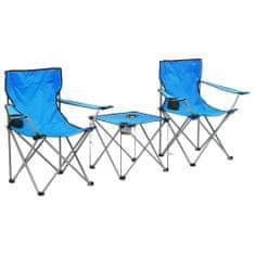 3-dielna súprava kempingového stola a stoličiek modrá
