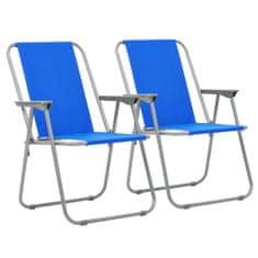shumee Skladacie kempingové stoličky 2 ks 52x59x80 cm modré