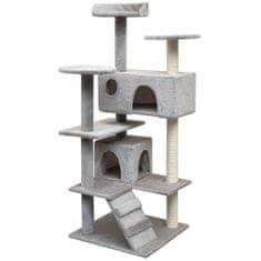 Škrabadlo pre mačky so sisalovými stĺpikmi, 125 cm, šedé