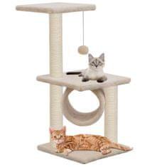 Škrabadlo pre mačky so sisalovými stĺpikmi 65cm, béžové