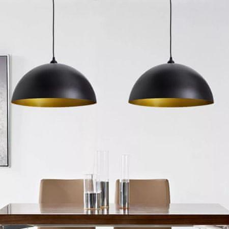 shumee 2 db fekete, állítható magasságú, félgömb mennyezeti lámpa