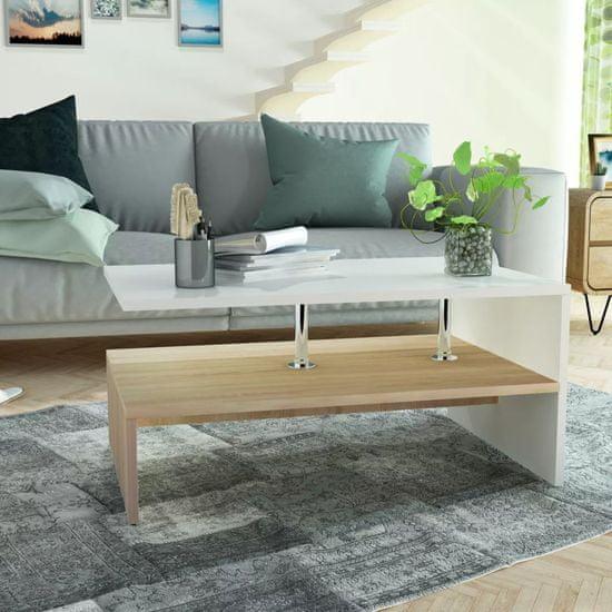 Konferenčný stolík, drevotrieska, 90x59x42 cm, dubový a biely