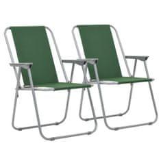 shumee Skladacie kempingové stoličky 2 ks 52x59x80 cm zelené