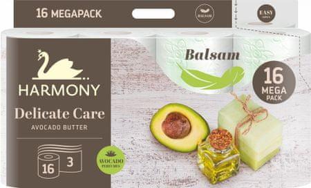 Harmony Toalettpapír Delicate Care Avocado butter balsam, 16 tekercs