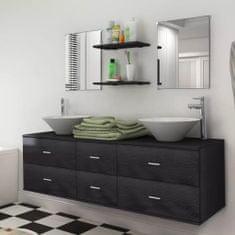 shumee Devítikusový set koupelnového nábytku s umyvadlem a baterií, černý