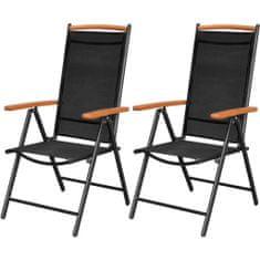 Skladacie záhradné stoličky 2 ks, hliník a textilén, čierne