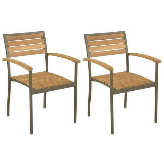 Stohovateľné vonkajšie stoličky 2 ks, akáciový masív a oceľ