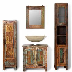 shumee Kúpeľňový nábytok z recyklovaného dreva: 3 skrinky, zrkadlo