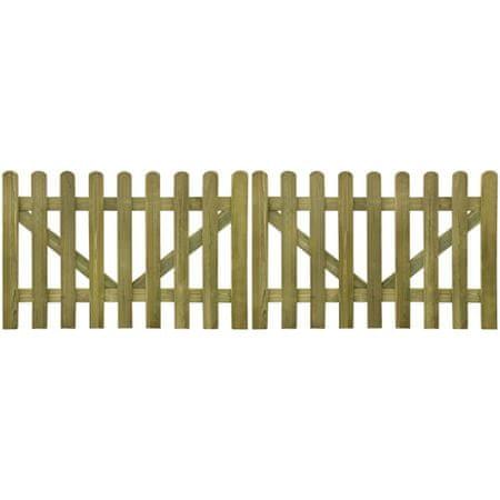 shumee 2 db impregnált fa léckerítés kapu 300 x 100 cm