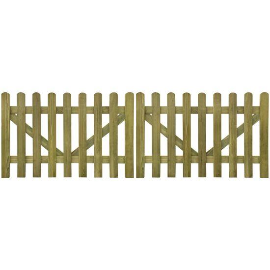 shumee Plotová brána laťková 2křídlá impregnované dřevo 300 x 100 cm