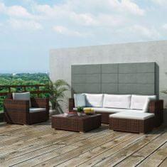 6-dielna záhradná sedacia súprava s vankúšmi hnedá polyratanová