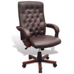 shumee Chesterfield kancelářská židle umělá kůže hnědá