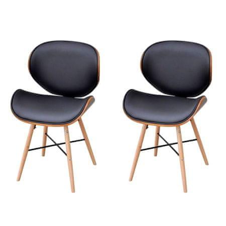 slomart Jedilni stoli 2 kosa ukrivljen les in umetno usnje