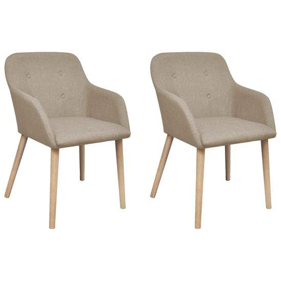 Jedálenské stoličky 2 ks, béžové, látka a dubový masív