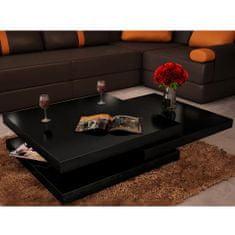 shumee Konferenční stolek 3vrstvý, černý s vysokým leskem