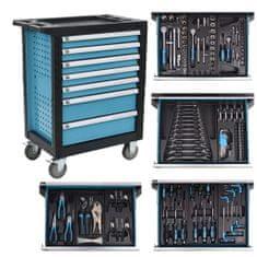 shumee Dílenský vozík na nářadí s 270 nástroji ocelový modrý