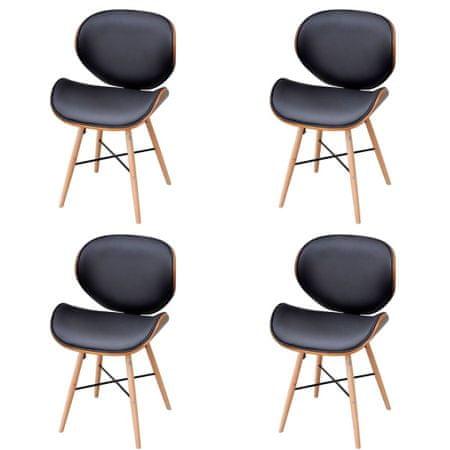 shumee Jedilni stoli 4 kosi ukrivljen les in umetno usnje