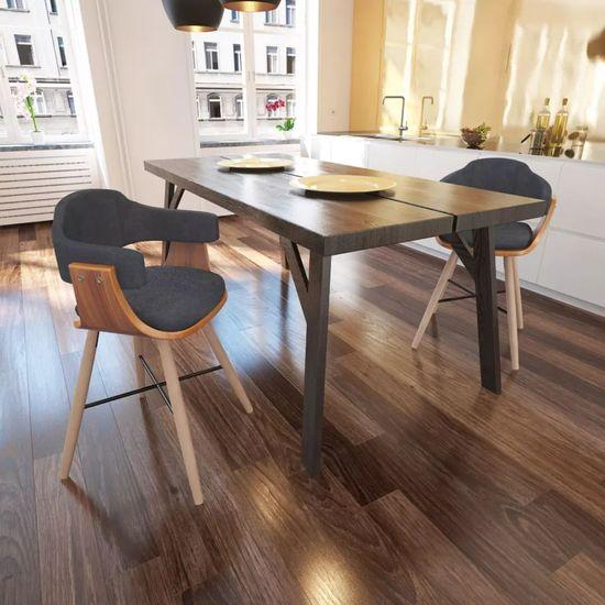 Jedálenské stoličky 2 ks, tmavosivé, ohýbané drevo a látka
