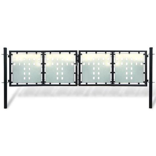 Vidaxl Černá dvoukřídlá plotová brána 300 x 125 cm