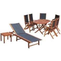 Vidaxl 9dílný zahradní jídelní set s poduškami masivní akáciové dřevo