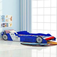 Detská posteľ, pretekárske auto, 90x200 cm, modrá