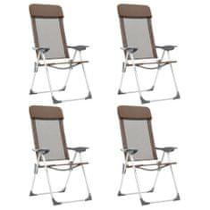 shumee Skladacie kempingové stoličky 4 ks, hnedé, hliník