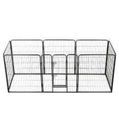 shumee Oceľová ohrádka pre psov s 8 panelmi 80x100 cm čierna