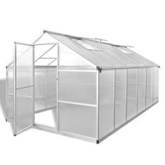 shumee Okrepljen Aluminijast Rastlinjak z Osnovnim Okvirjem 9,025 m²