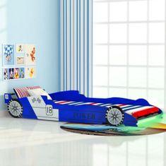 Detská posteľ s LED, pretekárske auto, 90x200 cm, modrá