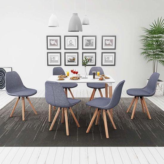 shumee Sedmidílný jídelní set stůl a židle, bílá a světle šedá