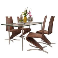 Jedálenské stoličky 4 ks, hnedé, umelá koža
