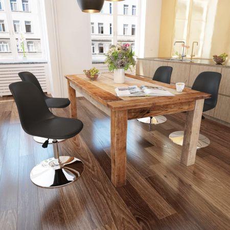 slomart Vrtljivi jedilni stoli 4 kosi črno umetno usnje