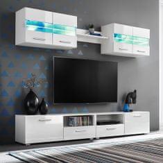 5-dielna TV obývacia stena s LED osvetlením, vysoko-lesklá biela