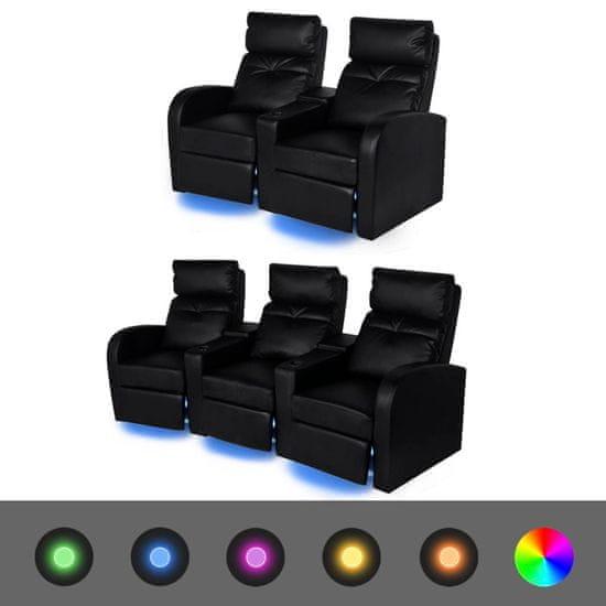 shumee 2 ks LED polohovací křesla dvousedačkové + trojsedačkové umělá kůže černá