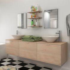 shumee 8dílný set koupelnového nábytku s umyvadly béžový