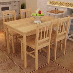 shumee Dřevěný jídelní stůl se 4 židlemi v přírodním odstínu