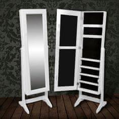 shumee Volně stojící zrcadlo / skříň na šperky bílá