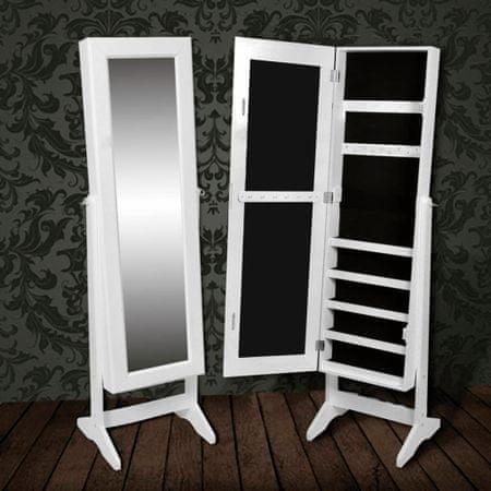 shumee fehér álló tükör/ékszertartó- és ruhásszekrény