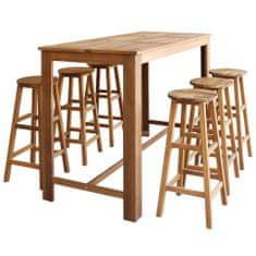 shumee 7 részes tömör akácfa bárasztal és bárszék garnitúra