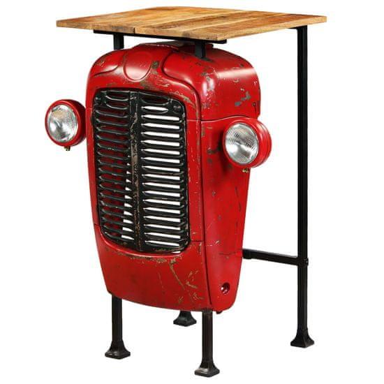 Petromila vidaXL Barový stůl Traktor z mangovníkového dřeva červený 60x60x107 cm
