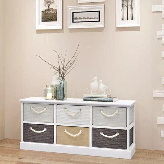 shumee Úložná lavice se 6 zásuvkami, dřevěná