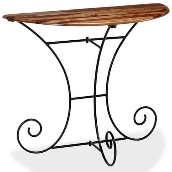 shumee Konzolový stolek z masivního sheeshamu polokulatý 90x45x75 cm