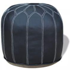 Okrągły, skórzany puf, szary 48x48x38 cm