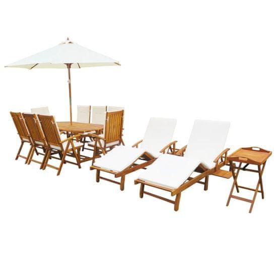 13-dielna záhradná sedacia súprava s vankúšmi akáciové drevo
