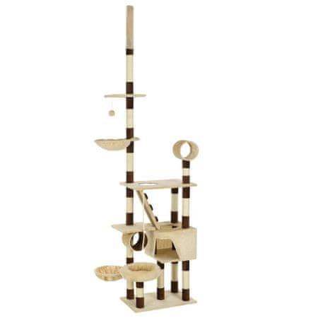 Drapak dla kota ze słupkami sizalowymi, 246-280 cm, beż i brąz