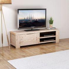 shumee Stojan pod TV z brúseného akáciového dreva, 140x38x40 cm