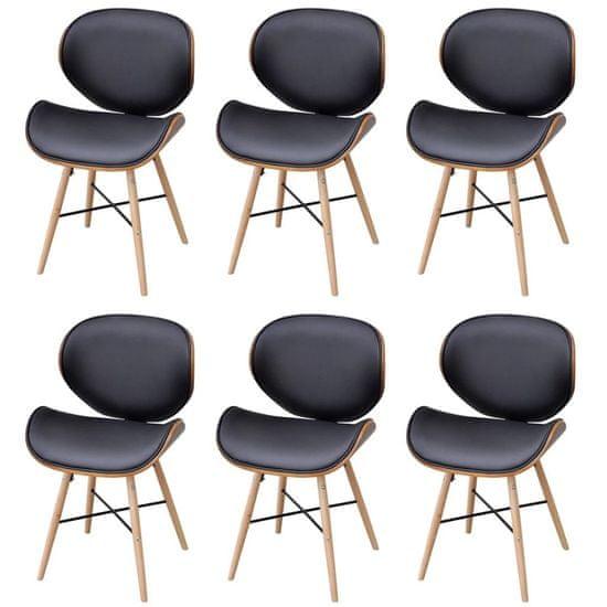 Vidaxl Jídelní židle 6 ks černé ohýbané dřevo a umělá kůže
