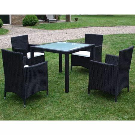 shumee 5-cz. zestaw mebli ogrodowych z poduszkami, rattan PE, czarny