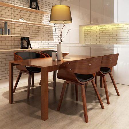 shumee Krzesła stołowe, 4 szt., brązowe, gięte drewno i sztuczna skóra